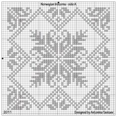 Norwegian biscornu from Antonina (lovebiser). [You could adapt this chart to Hardanger if you convert the floral motifs to satin stitch and even do a pulled four-sided stitch for the diagonals --- (NCS)] Biscornu Cross Stitch, Cross Stitch Borders, Cross Stitch Flowers, Cross Stitch Designs, Cross Stitching, Cross Stitch Patterns, Hardanger Embroidery, Cross Stitch Embroidery, Embroidery Patterns