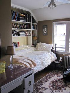I love those bookshelves. #bedroom #storage #desk #organization