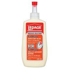 LePage Express Quick Dry Wood Glue Resin Glue, Furniture Repair, Cabinet Making, Assemblage, Wood Trim, Wood Glue, Plastic Bottles, Quick Dry