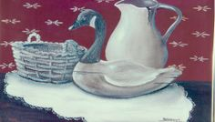 "Still life: ""Pitcher, basket, Canadian Goose"" o/c 14x18 by Katherine Cook"