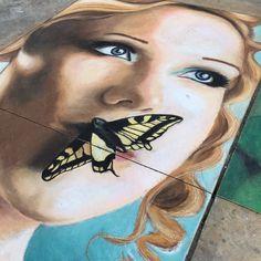 Easter drawing in Thomaston. #jessiqueenart #gachalkartists #butterflykisses by jessiqueenart