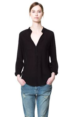 SHIRT WITH CONTRASTING PIPING - Tops - Woman | ZARA United States