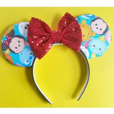 Tsum Tsum Tsum Tsum Mouse Ears Minnie Ears Mouse Ears Mouse Ears... (200 SEK) ❤ liked on Polyvore featuring accessories, hair accessories, headbands & turbans, red, red turban, head wrap hair accessories, sequin headbands, red bow headband and red bow hair accessories