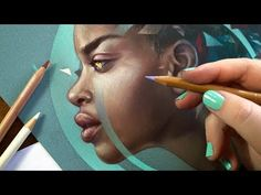 Bokkei: lady in teal Pencil Drawings, Colored Pencils, Pastels, Teal, Portrait, Lady, Illustration, Youtube, Animation