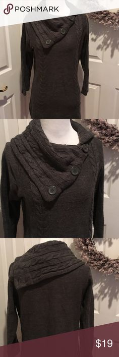Gray button cowl neck long sweater, grt w leggings Acrylic, dark gray sweater with great neckline.  Looks amazing with leggings and boots.  There is some pilling, but otherwise in good shape.  Measures 28 inches shoulder to hem as it lays flat.  19 inch bust laying flat. Sweaters