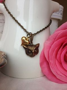 Owl Love You Forever Brass Necklace by ALittleBitPrettyShop