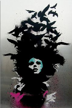 Eelus. Raven Haired. Spray paint on aluminium.