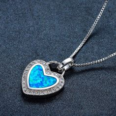LIANGLI 925 Sterling Silver Opal Necklace, Fashion Blue Artificial Fire Opal Heart Pendant Necklace for Women Bow Earrings, Opal Necklace, Simple Earrings, Round Earrings, Necklace Types, Heart Pendant Necklace, Geometric Type, Metal Necklaces, Fashion Necklace