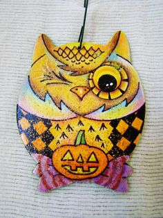 Halloween Winking Owl Ornament  Hand Drawn and by TheDeSotoDesigns