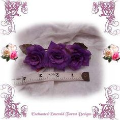 Purple Roses Fairy Hair Barrette Clip | Enchanted Emerald Forest Designs