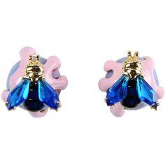 La Hormiga Earrings (130 CAD) ❤ liked on Polyvore featuring jewelry, earrings, purple, purple earrings, purple jewelry, logo earrings and earring jewelry