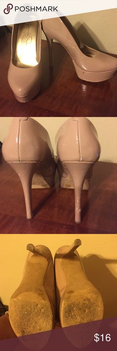 "Nude patent platform pumps 5"" nude patent platform pumps. Platform height is 1 1/2"". Some wear on inside of right shoe and on heels. Jessica Simpson Shoes Platforms"