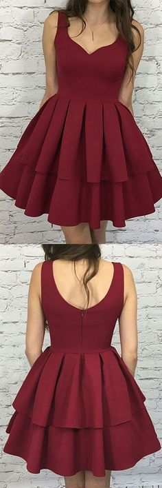 Prom Dresses Short, Prom Dresses On Sale, Short Prom Dresses, Burgundy Prom Dresses, Knee Length Prom Dresses, A Line Prom Dresses, #shortpromdresses, Prom dresses Sale