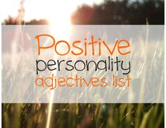 Positive Personality Adjectives List | Just English