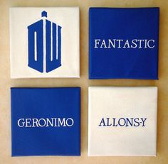 Doctor Who catchphrase canvas tiles- Fantastic, Allons-y, Geronimo, and Logo on Etsy, $55.00