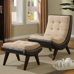 Brown Velvet Faux Leather Chair & Ottoman