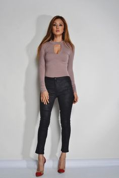 Choker Neck Long Sleeve Body Suit in Taupe