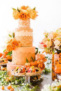 Orange, rose, tangerine golden wedding cake inspired by citrus fruits and summer by Elizabeth's Cake Emporium