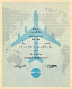 Pan Am flight certificate 1960