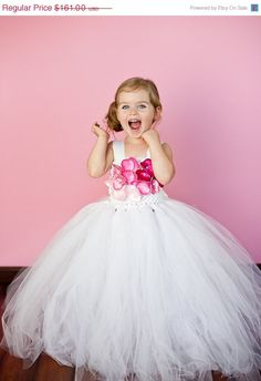20% OFF SALE Anna Flower Girl Tutu Dress with Liner and Pink Hydrangea Blossoms