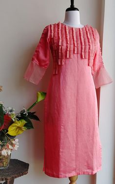 Buy Salmon Pink Linen Silk Kurta with Organza and Pearl Detail Online – LabelKanupriya Silk Kurti Designs, Tunic Designs, Kurta Designs Women, Kurti Designs Party Wear, Sleeve Designs, Stylish Dresses For Girls, Stylish Dress Designs, Fancy Kurti, Sleeves Designs For Dresses