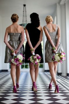 muted dresses (black and grey), flowers matching brightly colored shoes.