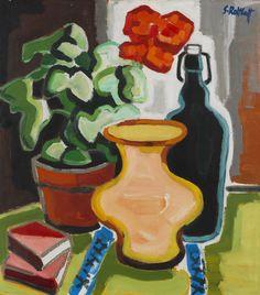 Karl Schmidt-Rottluff (Germany Pelargonientopf - Geranium Pot oil on fiberboard Karl Schmidt Rottluff, Lawrence Lee, Degenerate Art, Ernst Ludwig Kirchner, Art Studies, Geraniums, Impressionism, Printmaking, Art