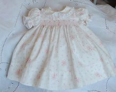 The Old Fashioned Baby Sewing Room: Emma's Smocked Baby Dress - Classic View