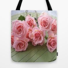 TAKE TIME TO SMELL THE ROSES Tote Bag by Annie Koh - $22.00