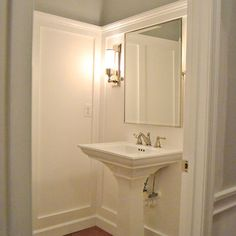That's right! Lots of old hotels had the sinks outside the bathroom, inside the bedroom portion of the room. Wonder if/how we could get away with this?? Powder Room Design, Pictures, Remodel, Decor and Ideas - page 13