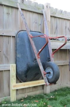 Shed Plans - I wanted to raise my wheelbarrow up to make it easier to mow around. Here is a quick way to store a wheelbarrow next to a fence. - Now You Can Build ANY Shed In A Weekend Even If You've Zero Woodworking Experience! Backyard Projects, Outdoor Projects, Garden Projects, Wood Projects, Outdoor Tools, Outdoor Ideas, Backyard Ideas, Garage Shed, Garage Tools