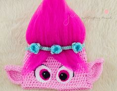 Crochet pattern- Poppy hat. Free crochet troll hat pattern. Poppy from trolls free crochet hat pattern.