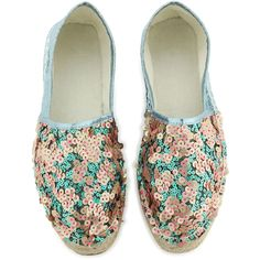 Amenapih Pink And Green Sequin Decorated Espadrilles - Peggy Glitter... ($52) ❤ liked on Polyvore featuring shoes, sandals, beige, espadrille sandals, pink sandals, sequin shoes, decorating shoes and embellished shoes