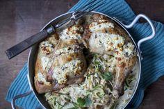 Helppo fetakana uunissa Chicken, Meat, Recipes, Food, Recipies, Essen, Meals, Ripped Recipes, Yemek