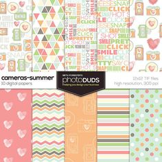 CAMERAS SUMMER PAPERS, Digital Papers |12x12 high res 300ppi coral mint peach cream pink hand drawn vintage camera watercolor chevron