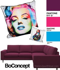 BoConcept Fuchsia Designer Furniture, Sofa in Fuchsia Marilyn cushion, Designer trends and my picks