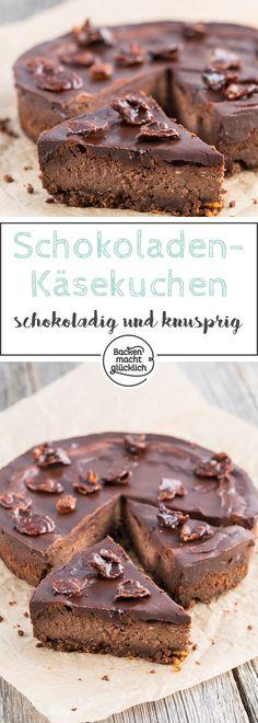 Tolles Rezept für einen Schokoladen-Käsekuchen. Herrlich schokoladige Käsecreme auf Knusperflakes Boden ergibt einen köstlichen Chocolate Cheesecake.