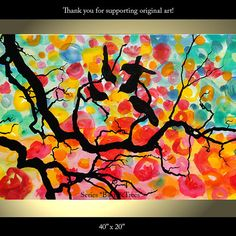 Tree Painting Birds Flower Original Modern by ColorinaArt on Etsy, $189.00