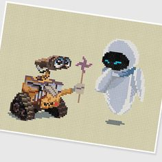 PDF Cross Stitch pattern  Wall E & Eve  INSTANT by PIXcross
