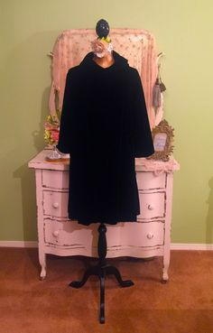 50s Velvet Opera Coat, 1950s Formal Coat, Black Swing Coat, S/M, Evening Coat…