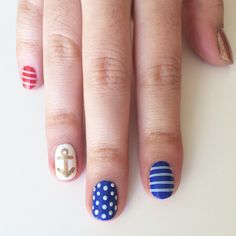 This nautical nail art is perfect for Summer (Fourth of July  included)! Learn how to DIY it yourself with this easy tutorial.