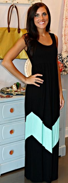 Black & Mint Chevron Maxi.. I love the pop of the mint. THis is so pretty!!