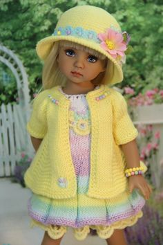 NUOVO HAND Knitted 4 PEZZI Barbie Doll Clothes Outfit Set// 41