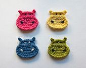 PDF Crochet Pattern - Hippo Applique (Quick and Easy) - with symbol CHART instructions - Permission to Sell Finished Items