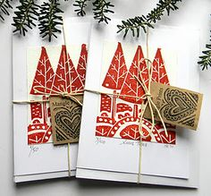 Lino Print Christmas Cards, by Mangle Prints Christmas Art, Handmade Christmas, Christmas Decorations, Xmas Cards, Holiday Cards, Gravure Illustration, Art Business Cards, Karten Diy, Nouvel An