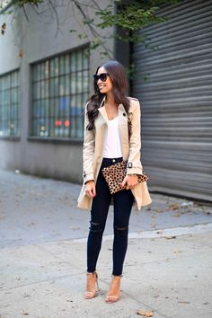 Cute ensemble. Khaki/Beige trench coat, white tee, black denim or pleather pants and single-strap sling back heel <3