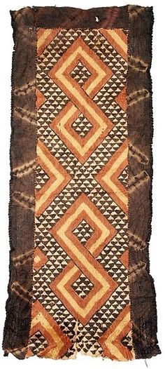 Africa | Barkcloth from the Kuba people of DR Congo | These special wraps were worn outside, or on top of, the long dance dresses for added decoration and prestige. | © Tim Hamill