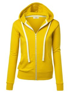 Made By Johnny Women's Active Casual Zip-up Hoodie Jacket Long Sleeve Comfortable Lightweight Sweatshirt Yellow Hoodie, Fleece Hoodie, Hooded Sweatshirts, Pullover, Men's Hoodies, Sweater Jacket, Yellow Top, Sweaters, Jackets