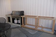DIY BBQ outdoor island around existing propane grill cart, photos from start to finish!
