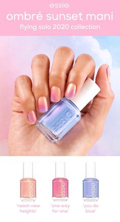 get a dreamy ombré mani with these shimmery sunset-inspired shades from the new essie flying solo collection. using a sponge, blend together shades 'reach new heights', 'one way for one', 'you do blue'. finish with your favorite essie topcoat. Spring Nails, Summer Nails, Bright Summer Acrylic Nails, Essie Nail Colors, Essie Gel Polish, Ombre Nail Polish, Gel Nail, Uv Gel, Nail Polish Collection